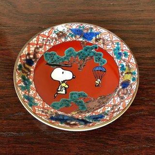 九谷焼豆皿 スヌーピー 赤絵