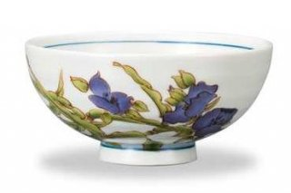 九谷焼飯碗 紫露草(6月) 12ケ月の花シリーズ
