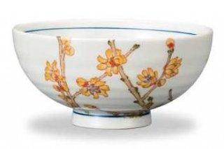 九谷焼飯碗 蝋梅(1月) 12ケ月の花シリーズ