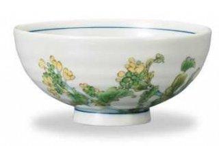 九谷焼飯碗 菜の花(2月) 12ケ月の花シリーズ