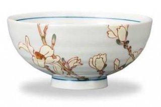 九谷焼飯碗 辛夷(3月) 12ケ月の花シリーズ