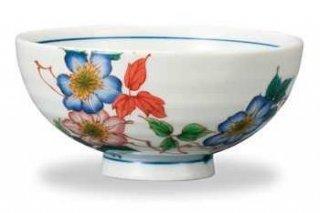 九谷焼飯碗 鉄線(7月) 12ケ月の花シリーズ