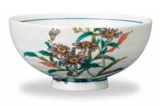 九谷焼飯碗 紫苑(11月) 12ケ月の花シリーズ