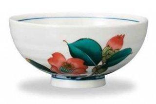 九谷焼飯碗 寒椿(12月) 12ケ月の花シリーズ