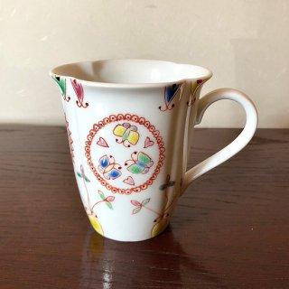 九谷焼マグカップ 丸紋 銀舟窯