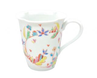 九谷焼マグカップ 花のライン 銀舟窯