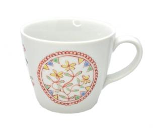 九谷焼マグカップ 花の丸窓 銀舟窯