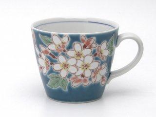九谷焼マグカップ 四季の花 桜(文字入) 青郊窯