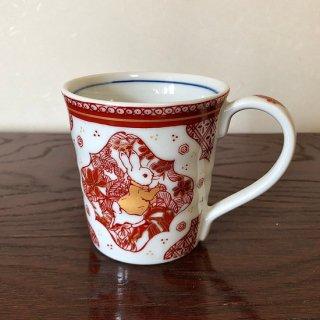 九谷焼ピーターラビットマグカップ 赤絵
