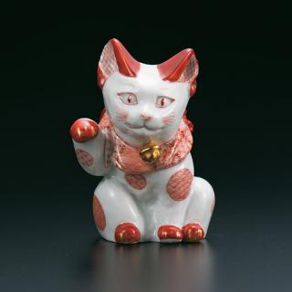 福島礼子作・4号招き猫 赤絵細描丸紋