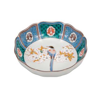鉢(5.2号) 古九谷山桜に鳥