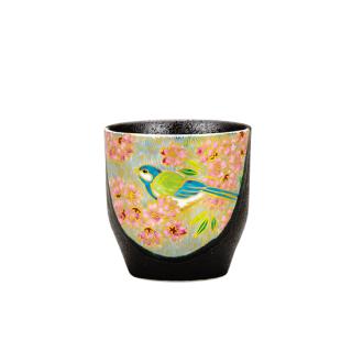 湯呑 金桜花鳥