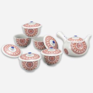 蓋付茶器 赤絵丸紋/大志窯