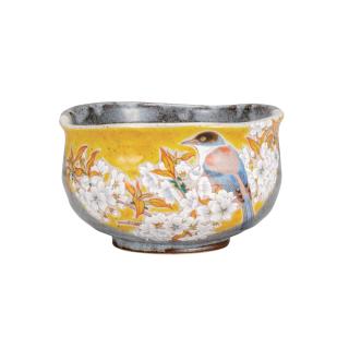 抹茶碗 吉田屋山桜に鳥