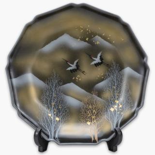 飾皿(10号) 木立鶴