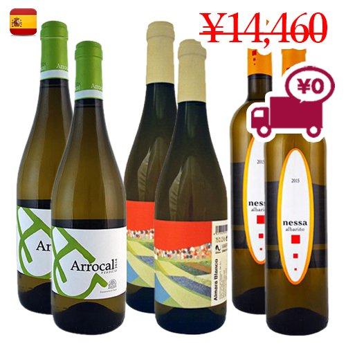 【スペインワイン6本セット】<br>3地域で構成された<br>ブドウ3品種 各2本クラシックな白ワインセット