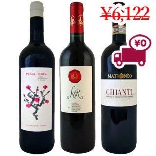 【期間限定特価】送料無料 SPECIAL PRICE<br>【チリ・スペイン・フランスワイン3本セット】<br>3か国で構成された人気 赤ワイン3種セット
