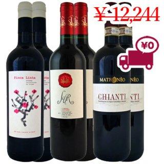 送料無料 SPECIAL PRICE<br> 【チリ・スペイン・フランスワイン6本セット】<br>3か国で構成された人気の赤ワイン3種各2本
