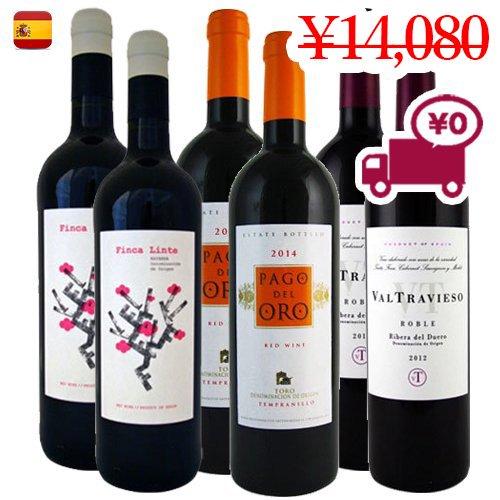 【スペインワイン6本セット】<br>3地域で構成された人気の赤ワイン3種 各2本