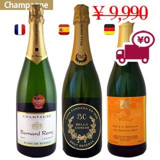 【シャンパン3本セット】お得なセット<br>世界をリードする スパークリングワイン<br>3か国から フランス シャンパン, ドイツ ゼクト, スペイン カヴァ