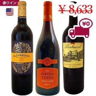 【カリフォルニア 赤ワイン 3本セット】<br>ラウンドフルーツフォワード赤ワイ ン 3種<br>メルロー、ピノノワール、ジンファンデル<br>U.S.A セントラルバレー