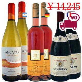 送料無料 SPECIAL PRICE<br>【人気のレストランワイン6本セット】<br>ドイツ産ロゼ、アルゼンチン産白ワイン、フランス産赤ワイン<br>3品種各2本