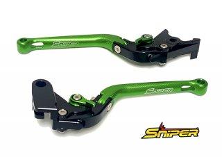 NINJA250 NINJA400 Z250 Z400 6段階アジャスター 可倒式 クラッチレバー&ブレーキレバーセット 緑