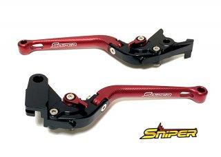 レブル250 CB400SF NSR250R RVF400 CBR400RR 6段階アジャスター 可倒式 クラッチレバー&ブレーキレバー 赤
