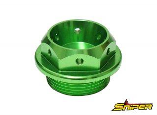 カワサキ スズキ アルミ製 オイルフィラーキャップ 緑 M30 x P1.5 汎用