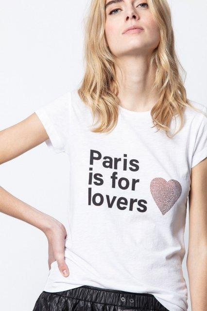 SKINNY PARIS LOVERS STRASS Tシャツ