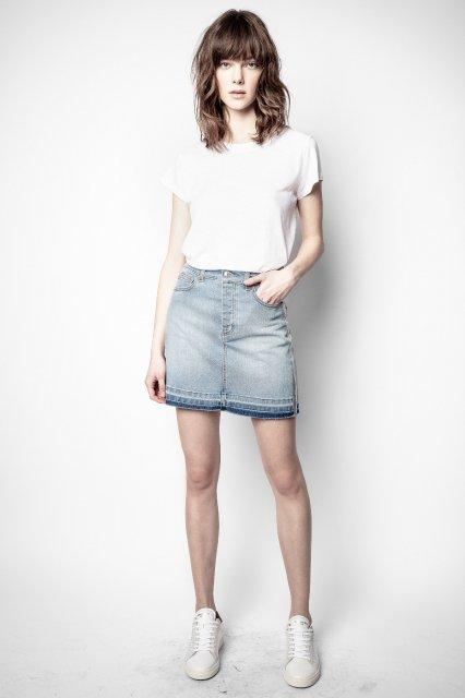 JUICY DENIM BLEU FOIL ARGENT COTE スカート