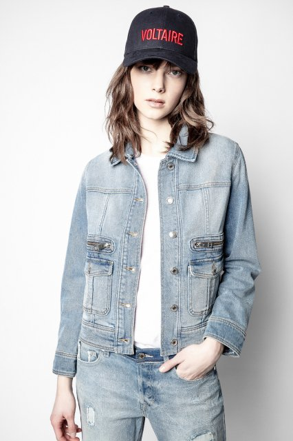 LIAMY DENIM BLEU BRODERIE COUDE ブルゾン