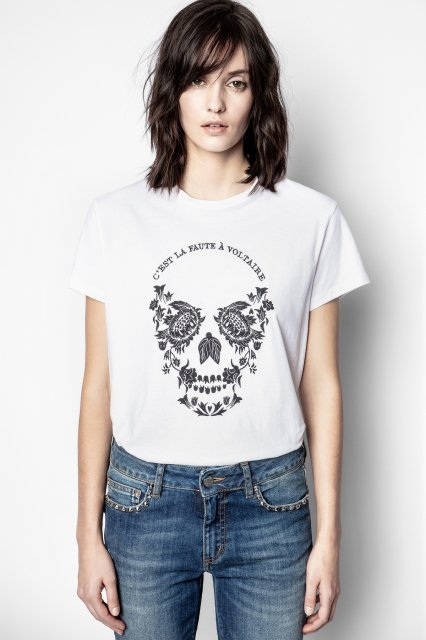 ZOE SKULL VOLTAIRE COTON BRODE Tシャツ