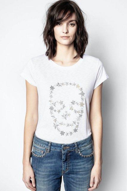 SKINNY STRASS SKULL STARS Tシャツ