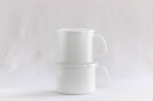 White Series 持ち手付ストッカー丸型(シール蓋付き)