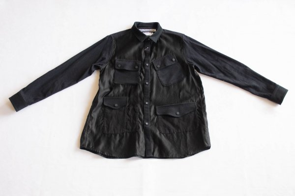 <img class='new_mark_img1' src='https://img.shop-pro.jp/img/new/icons1.gif' style='border:none;display:inline;margin:0px;padding:0px;width:auto;' />White Mountaineering MIXED FABRIC HUNTING SHIRT - BLACK  0