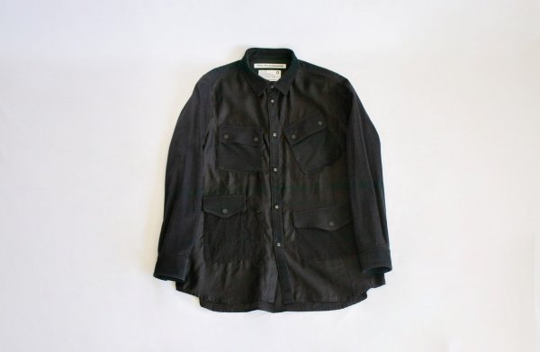 White Mountaineering(ホワイトマウンテニアリング)MIXED FABRIC HUNTING SHIRT(BLACK)<img class='new_mark_img2' src='https://img.shop-pro.jp/img/new/icons1.gif' style='border:none;display:inline;margin:0px;padding:0px;width:auto;' />