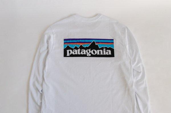 Patagonia(パタゴニア)Ms Long-Sleeved P-6 Logo Responsibili-Tee(White)