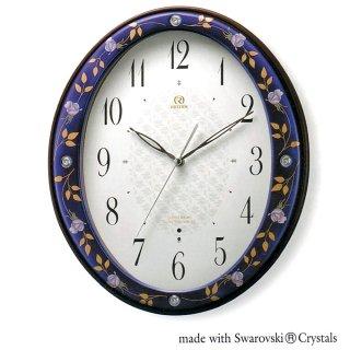 有田焼磁器枠時計 ルリ薔薇