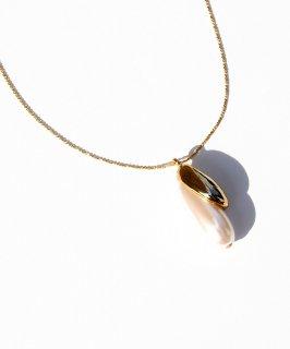 Metal×drop pearl Necklace