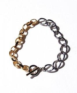 Gold×Silver mix chain bracelet