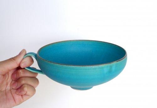 スープカップ  ターコイズブルー釉 瑞光窯