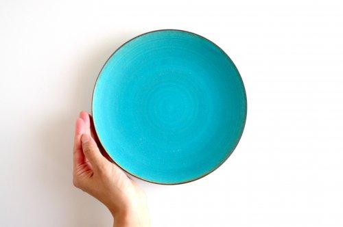 プレート・中皿  ターコイズブルー釉 瑞光窯