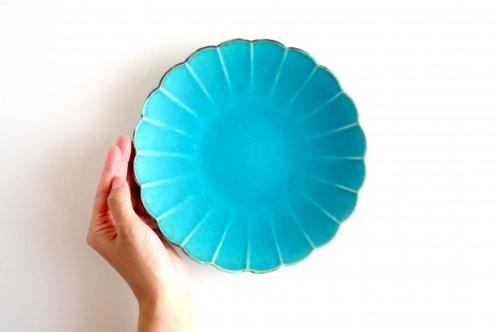 輪花皿 21cm ターコイズブルー釉 瑞光窯