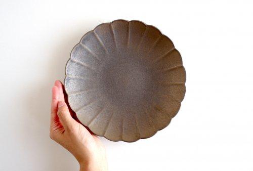 輪花皿 21cm ブロンズ釉 瑞光窯