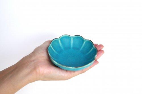 輪花小鉢 ターコイズブルー釉 瑞光窯