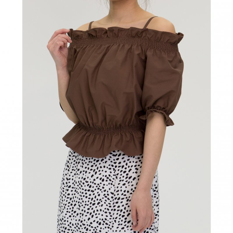 Off-Shoulder Blouse(Brown)