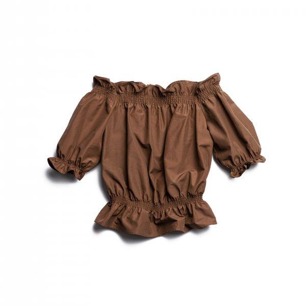 AMYER - Off-Shoulder Blouse(Brown)