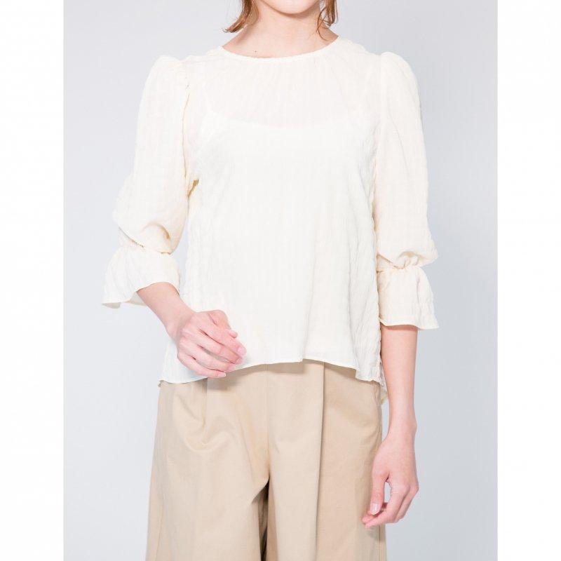 Shirring Puff Sleeve Blouse(Ivory)
