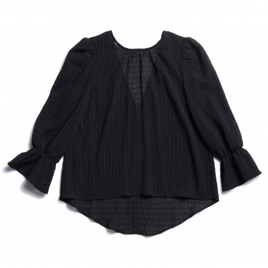 Shirring Puff Sleeve Blouse(Black)